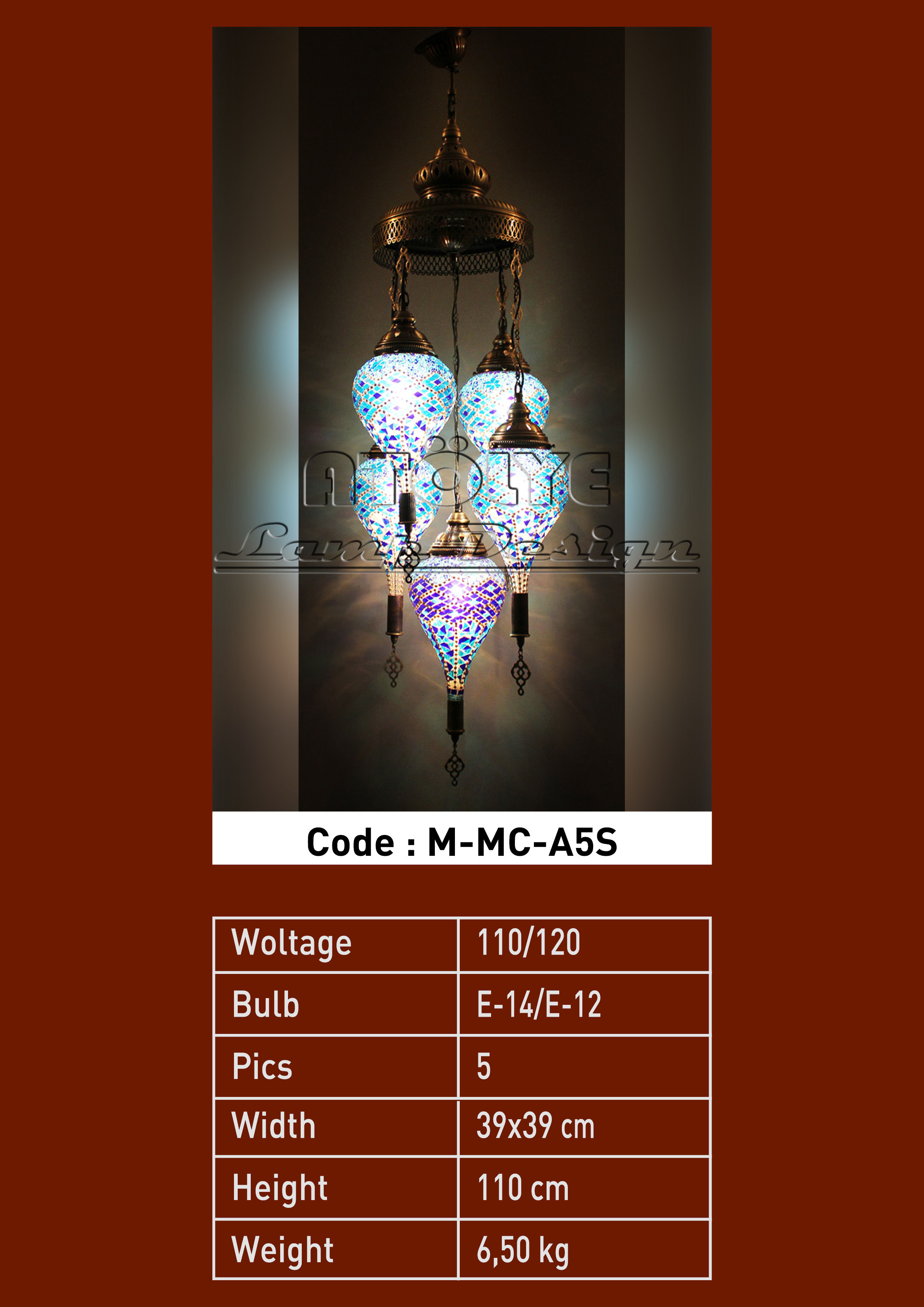 turkish mosaic light 5 glass drop chendelier