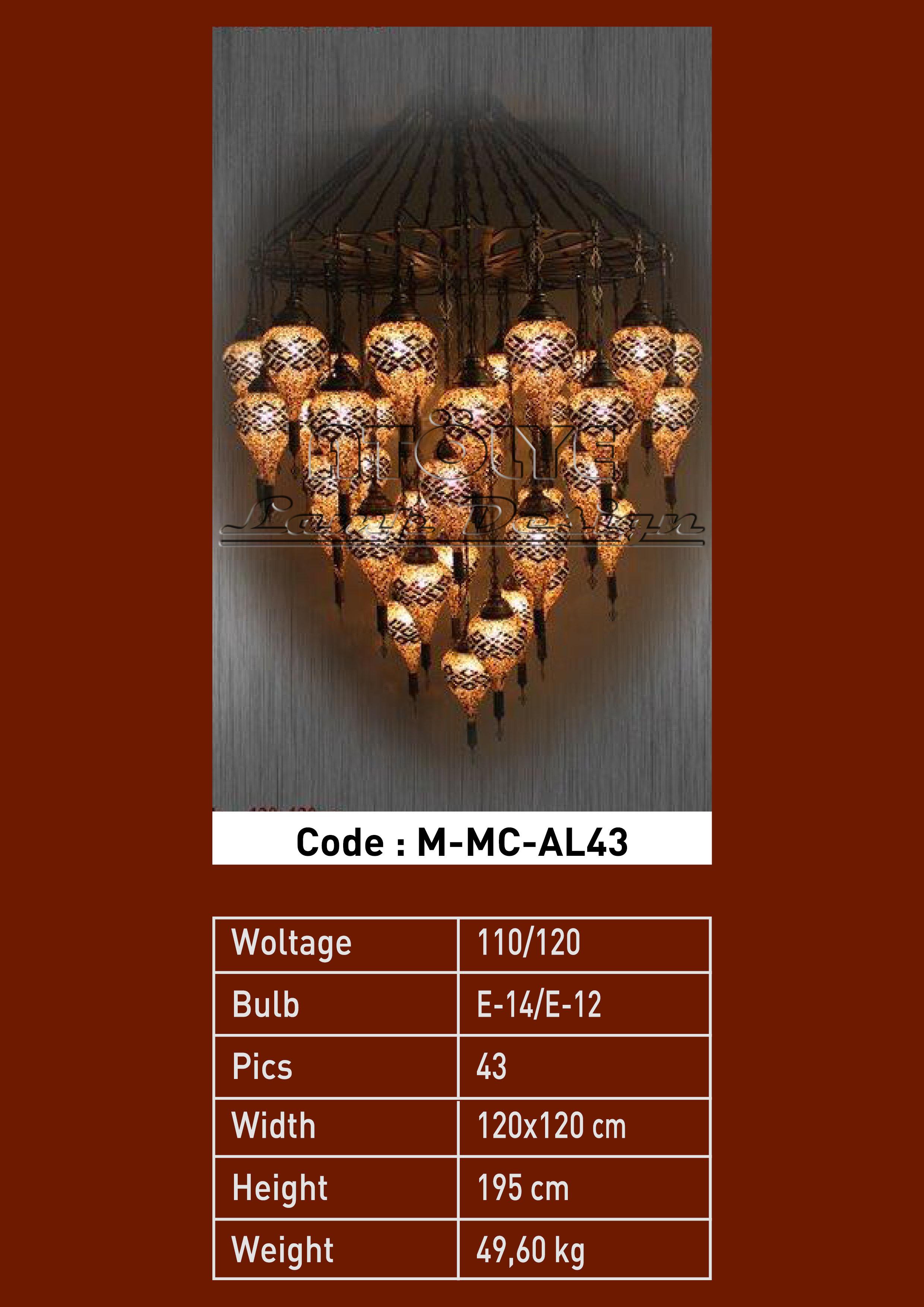 mozaik avize damla 43 camlı lazer kasnak