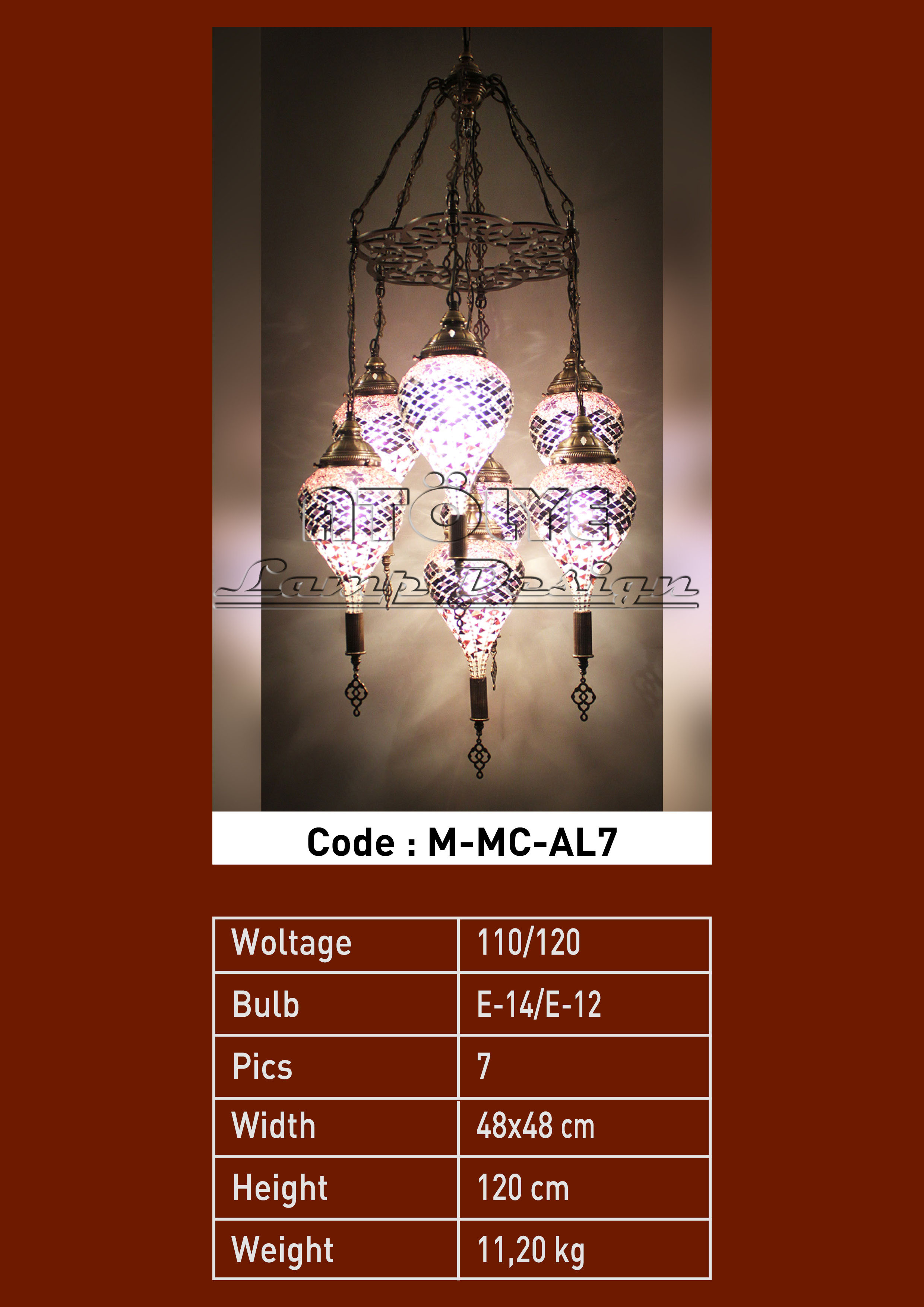 turkish mosaic light 7 glass drop chendelier