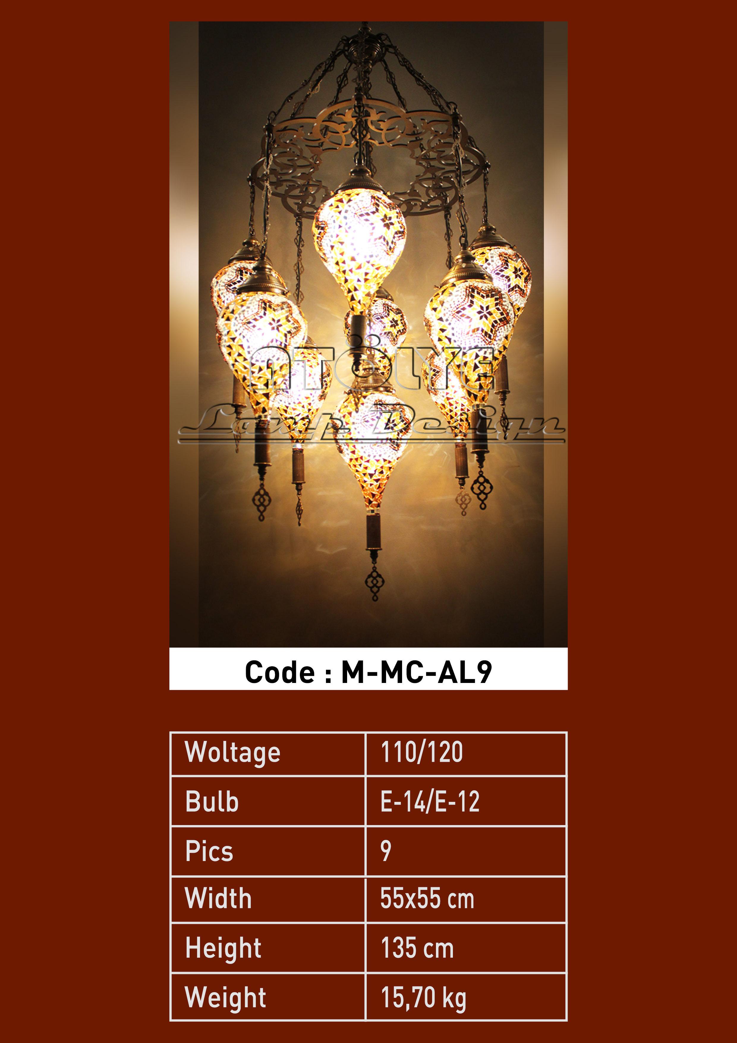mozaik avize damla 9 camlı lazer kasnak