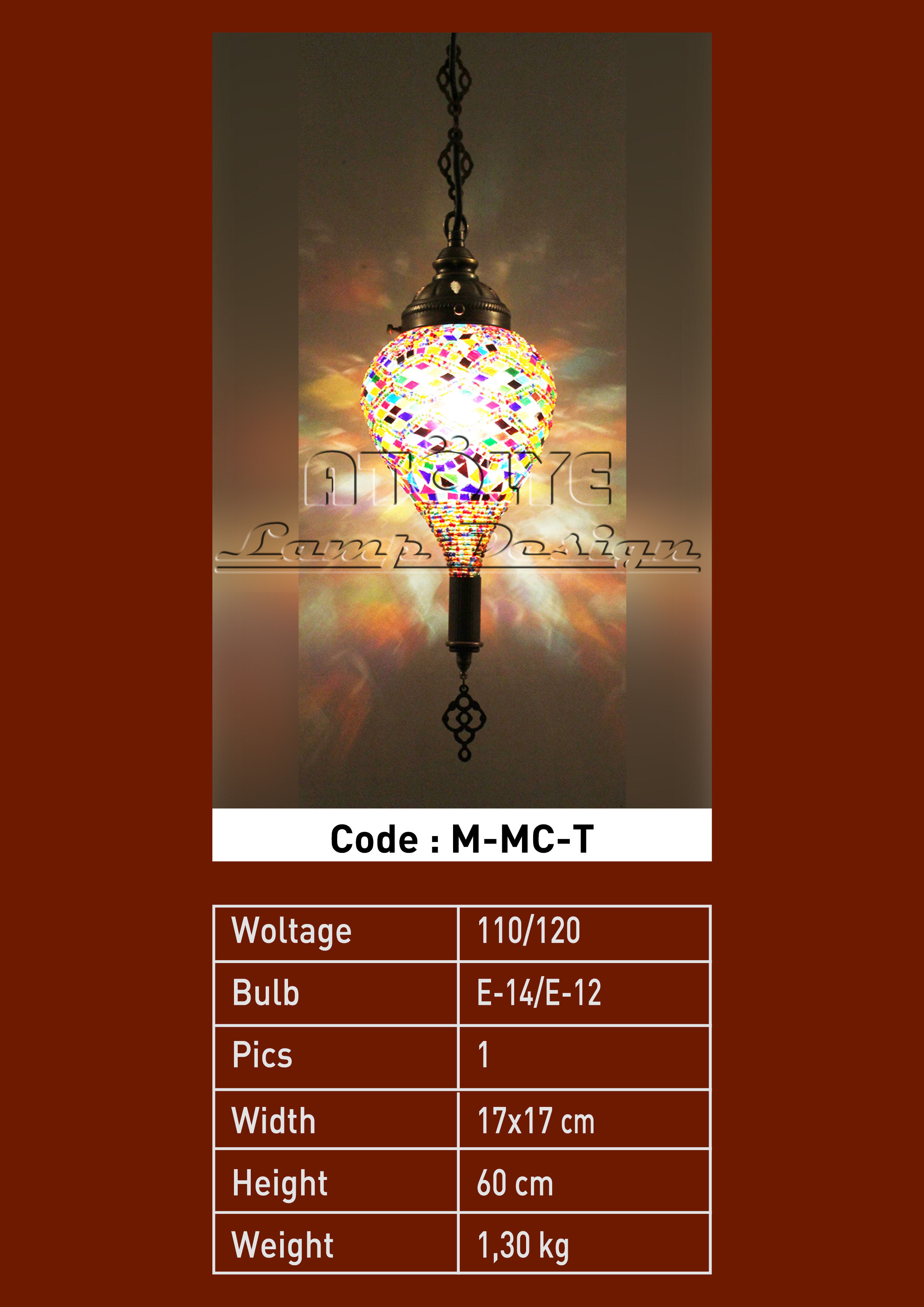 turkish mosaic lights pendant small drop