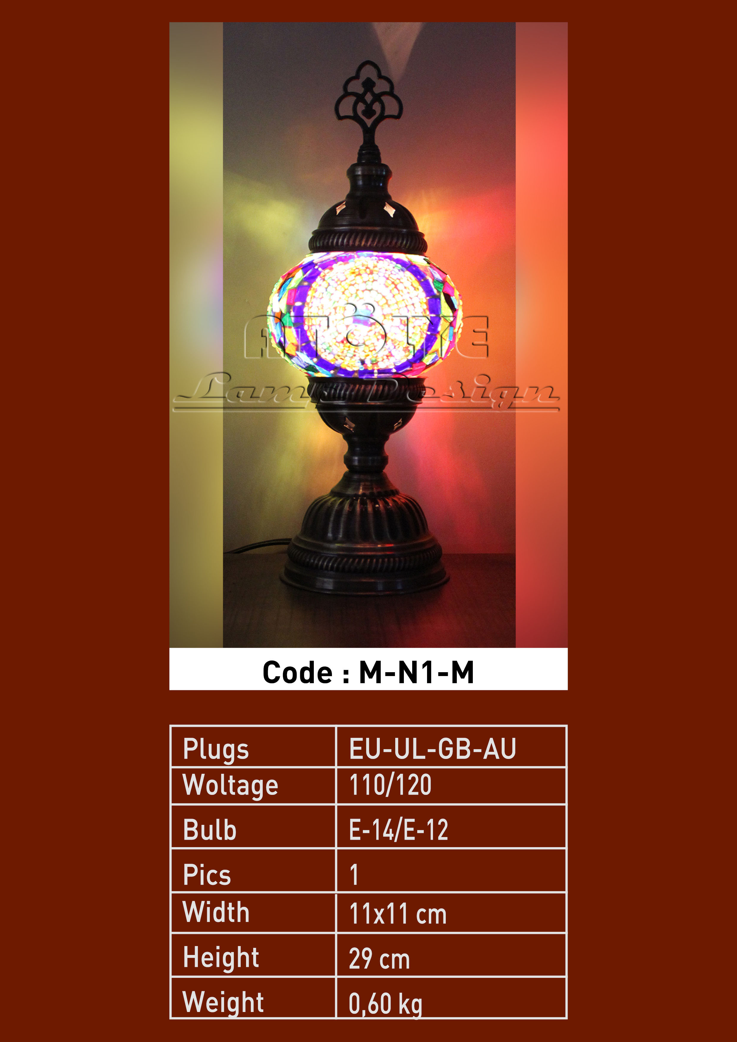 turkish mosaic table lamp no1 ball