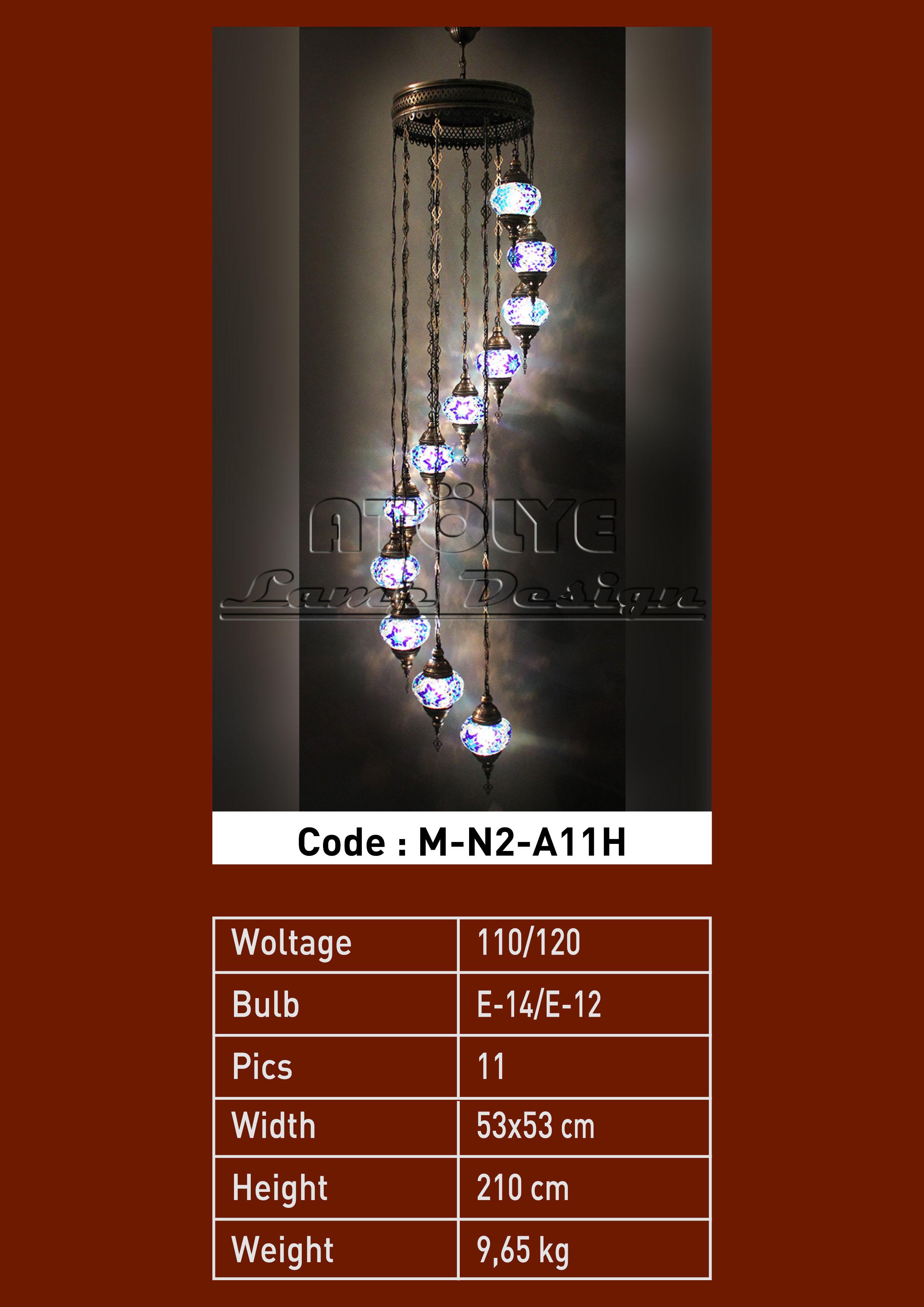 mozaik avize 11 camlı