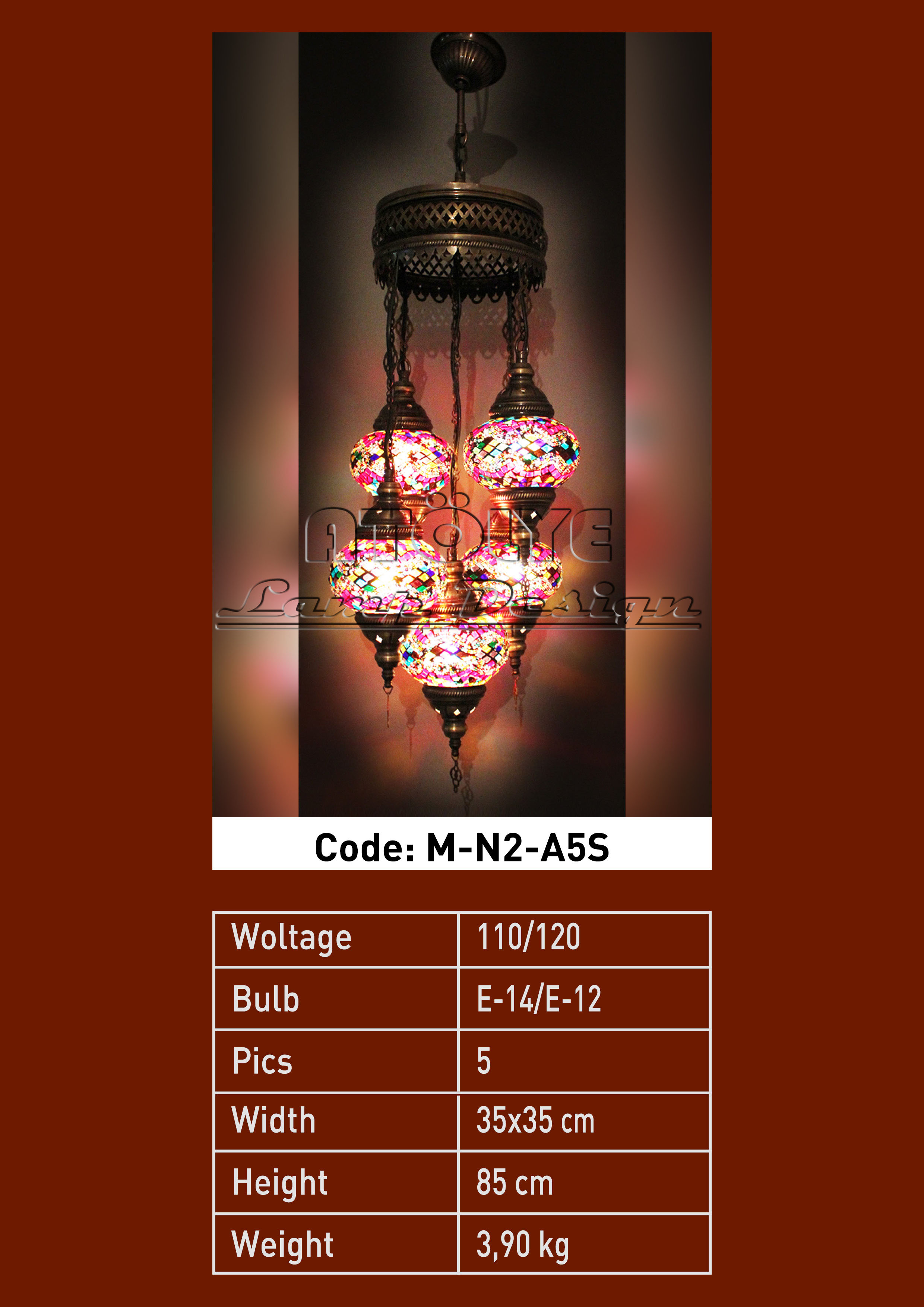 turkish mosaic light 5 glass chendelier