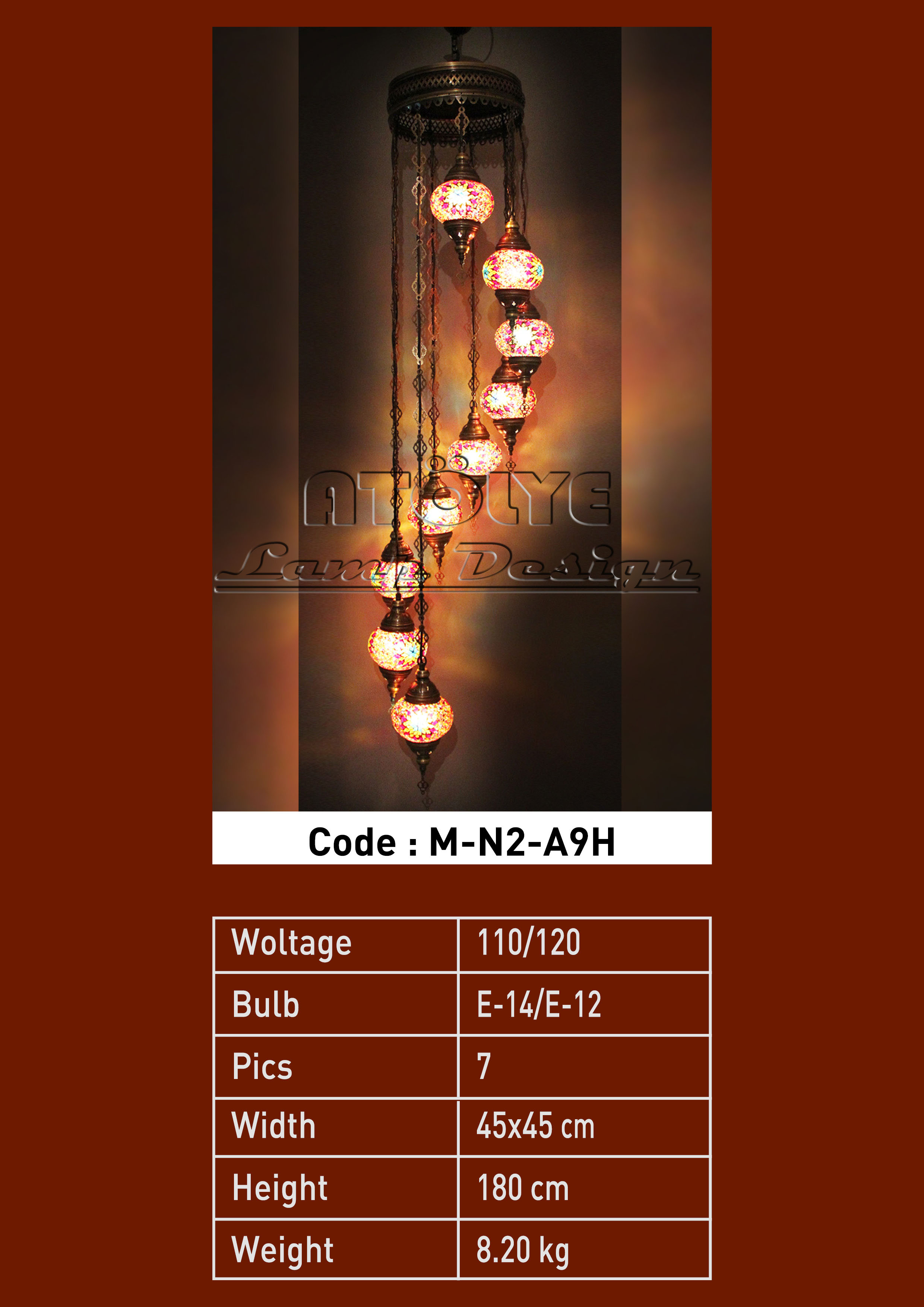 turkish mosaic light 9 glass chendelier