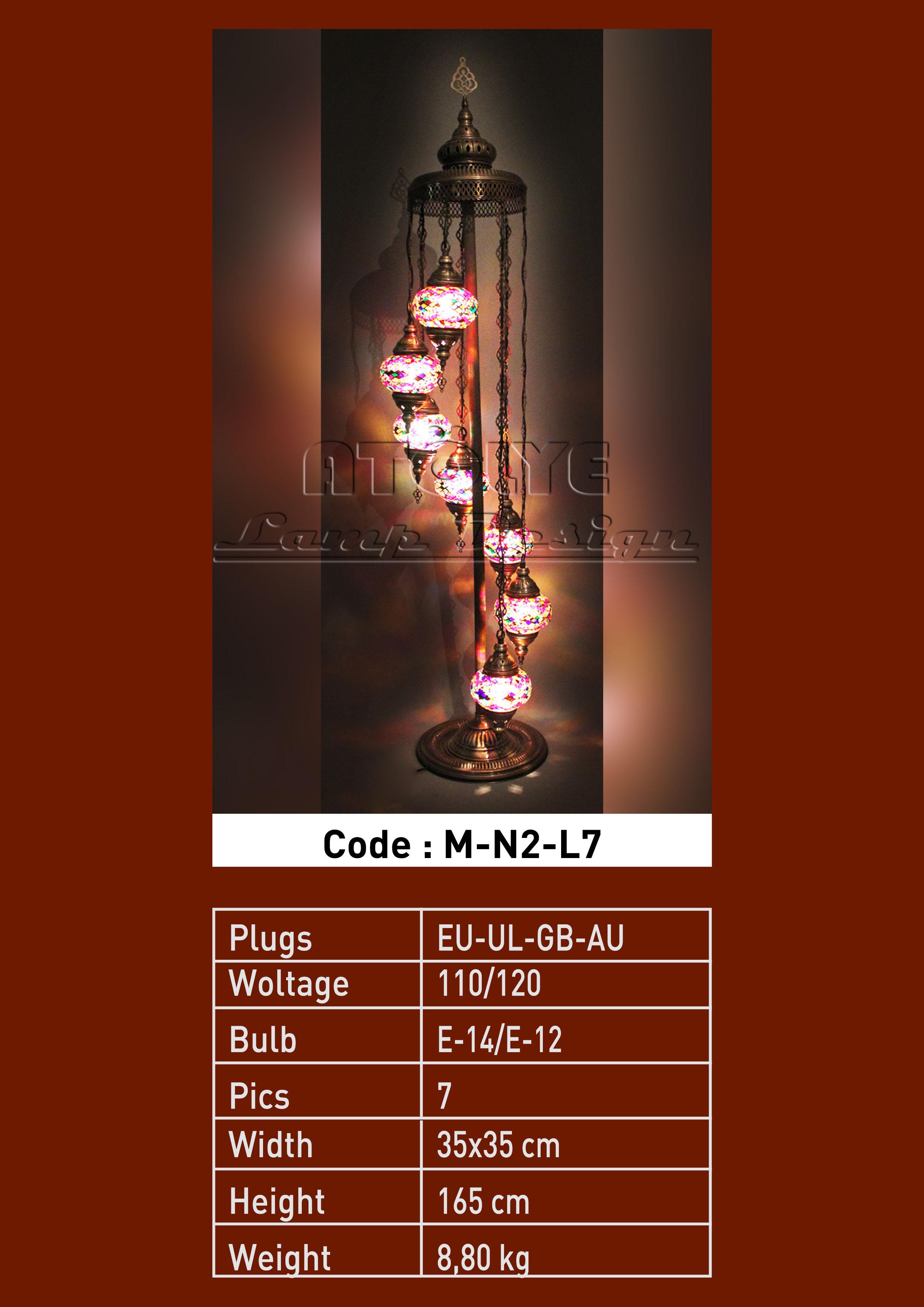 mozaik lambader lamba 7 camlı