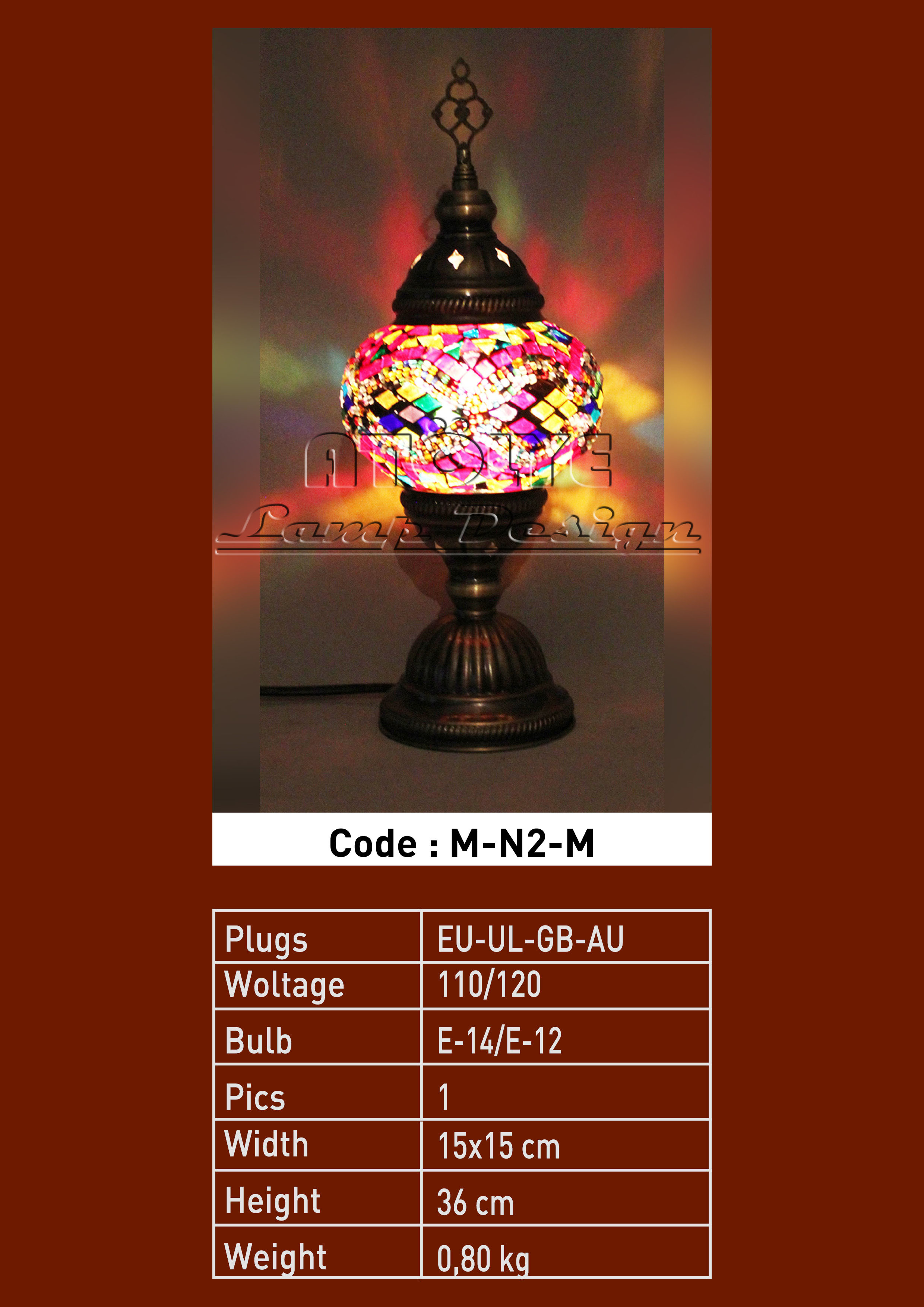turkish mosaic table lamp no2 ball