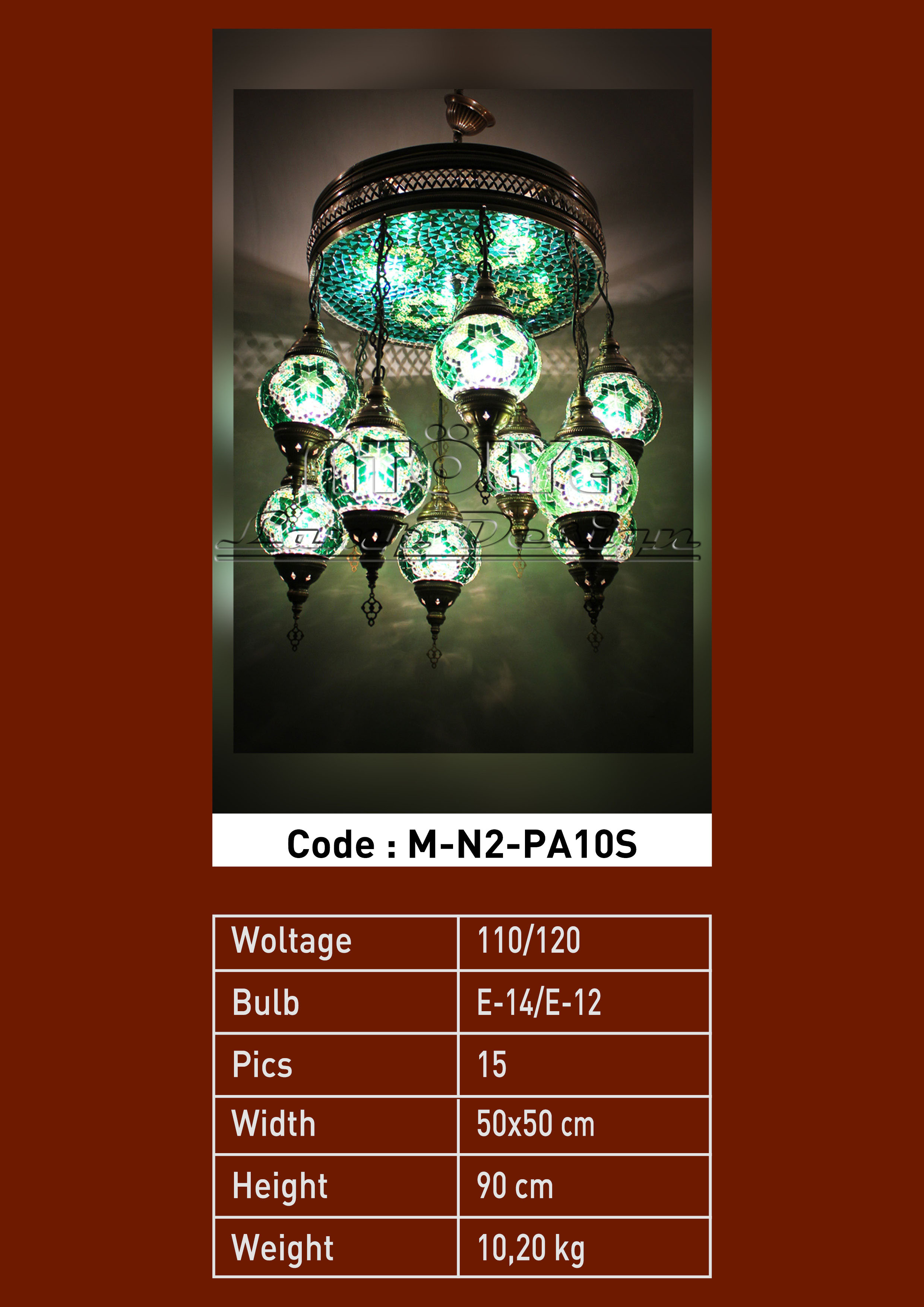turkish mosaic light 10 glass chendelier full lights