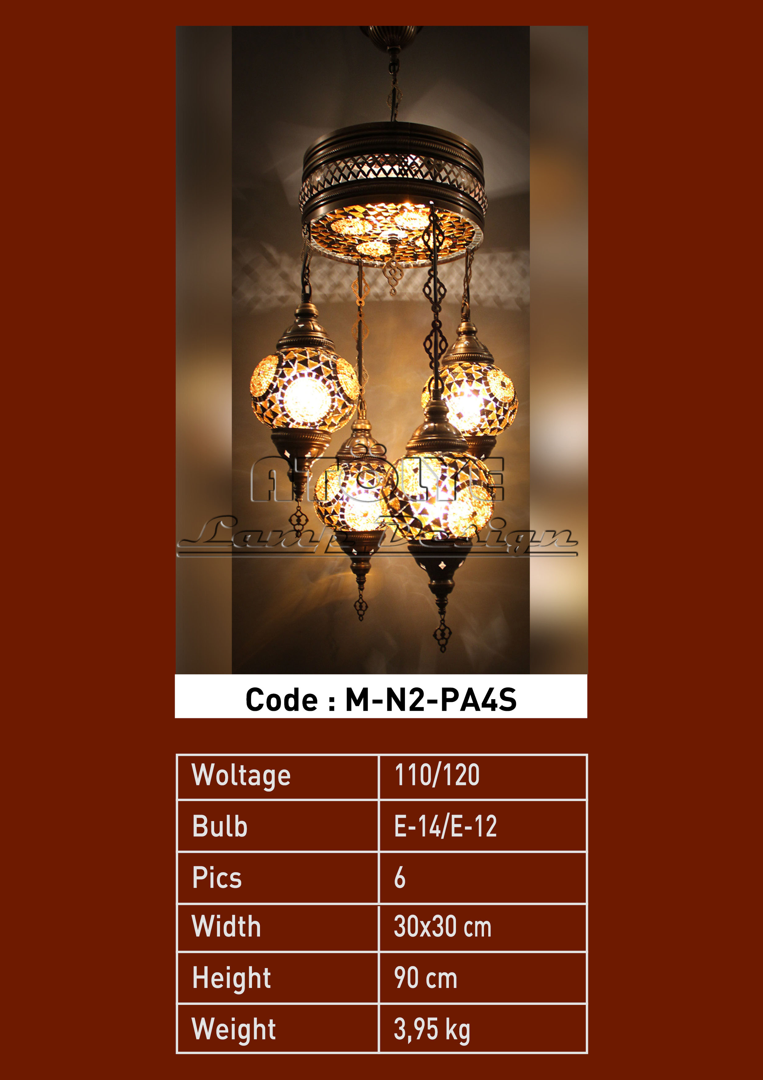 turkish mosaic light 4 glass chendelier full lights