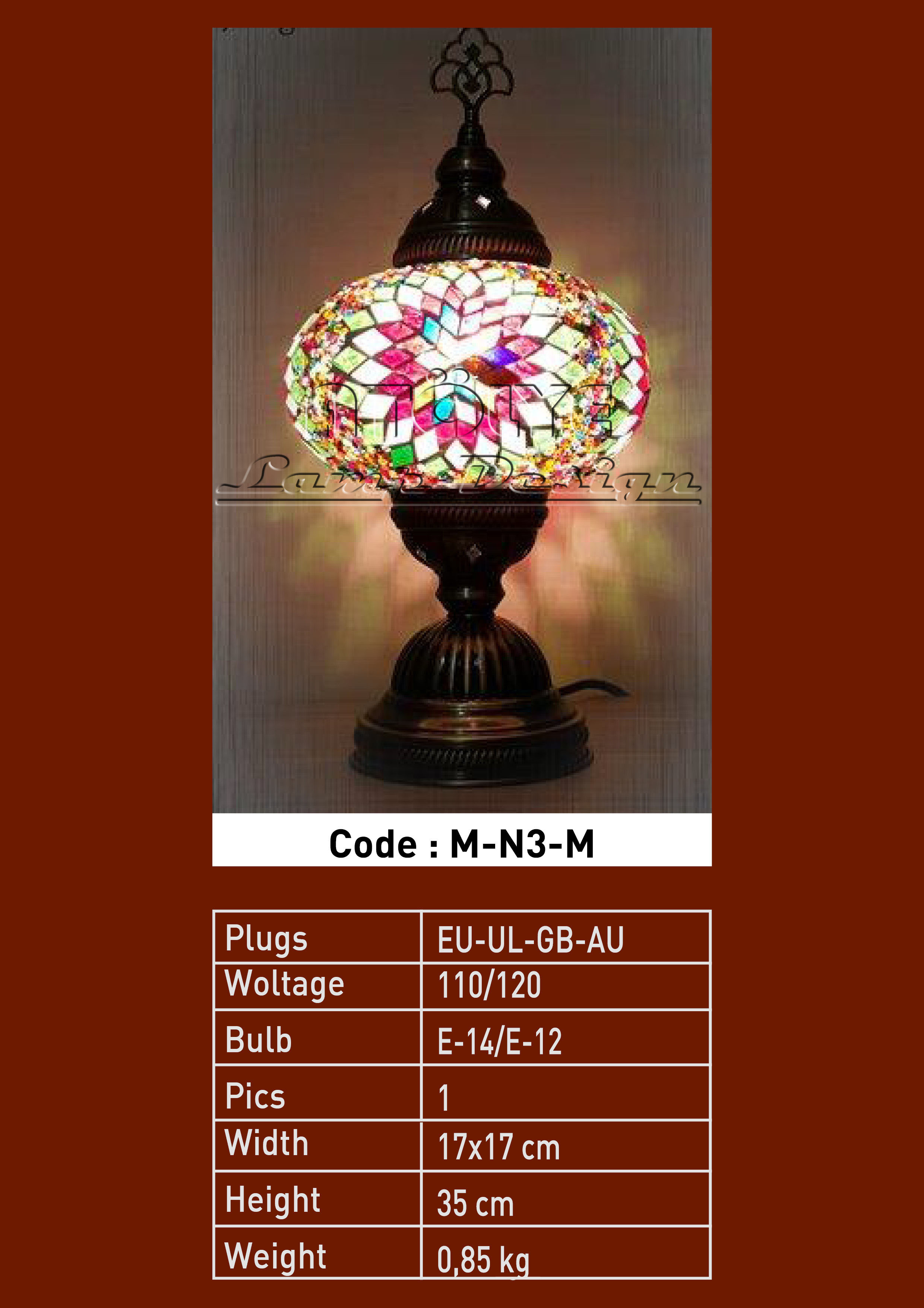 turkish mosaic table lamp 17cm ball