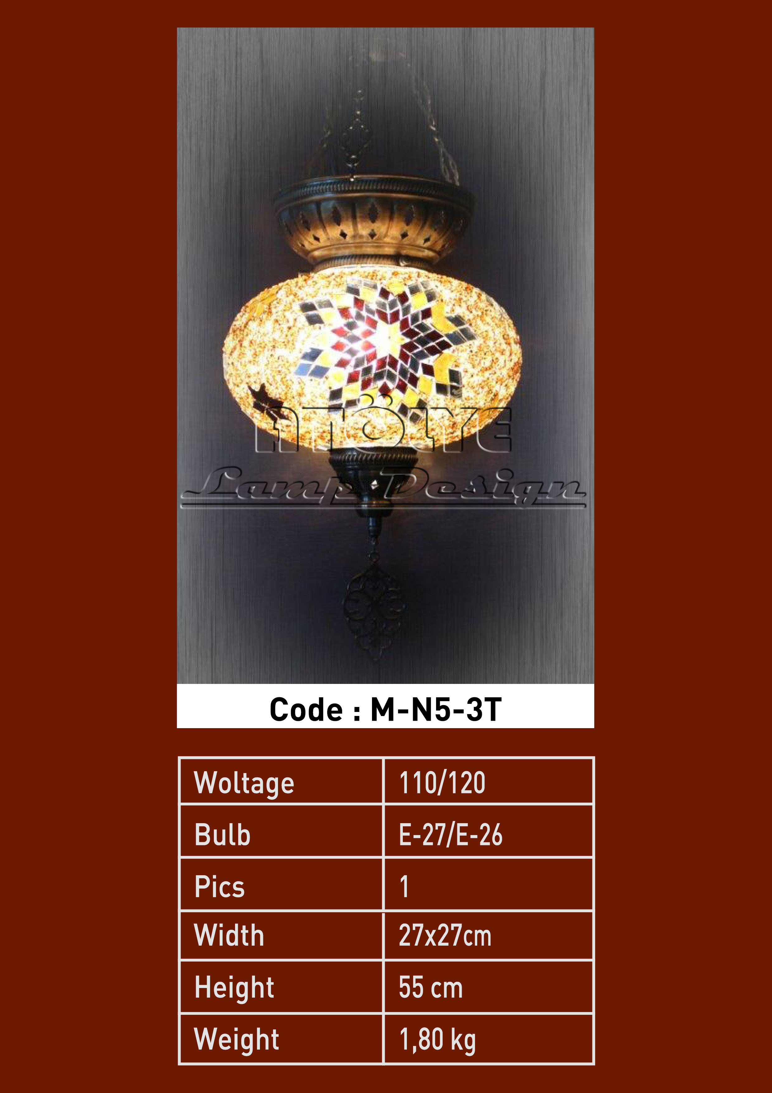 turkish mosaic lights no5 ball three chain