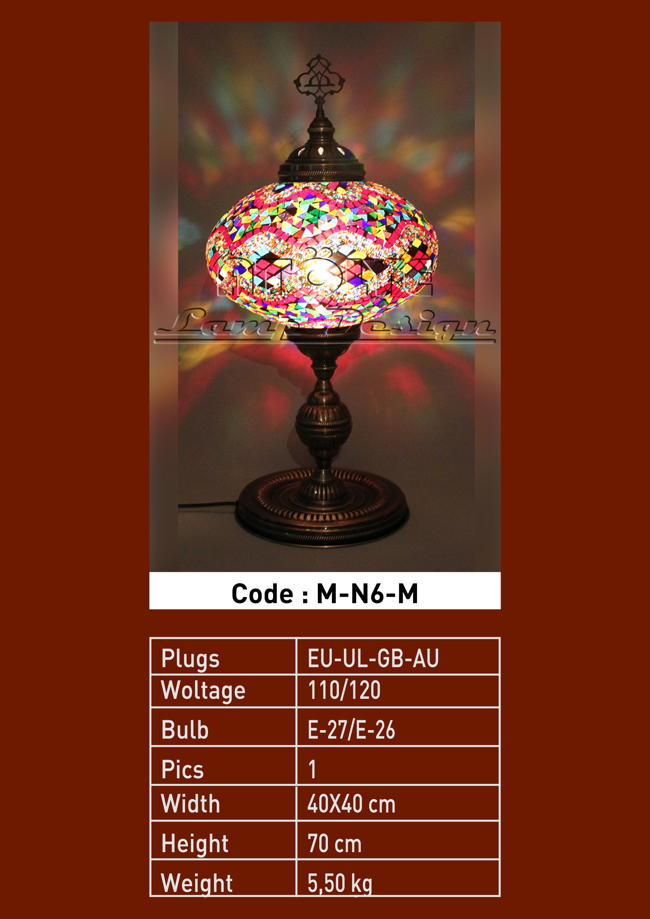 turkish mosaic table lamp 37cm ball