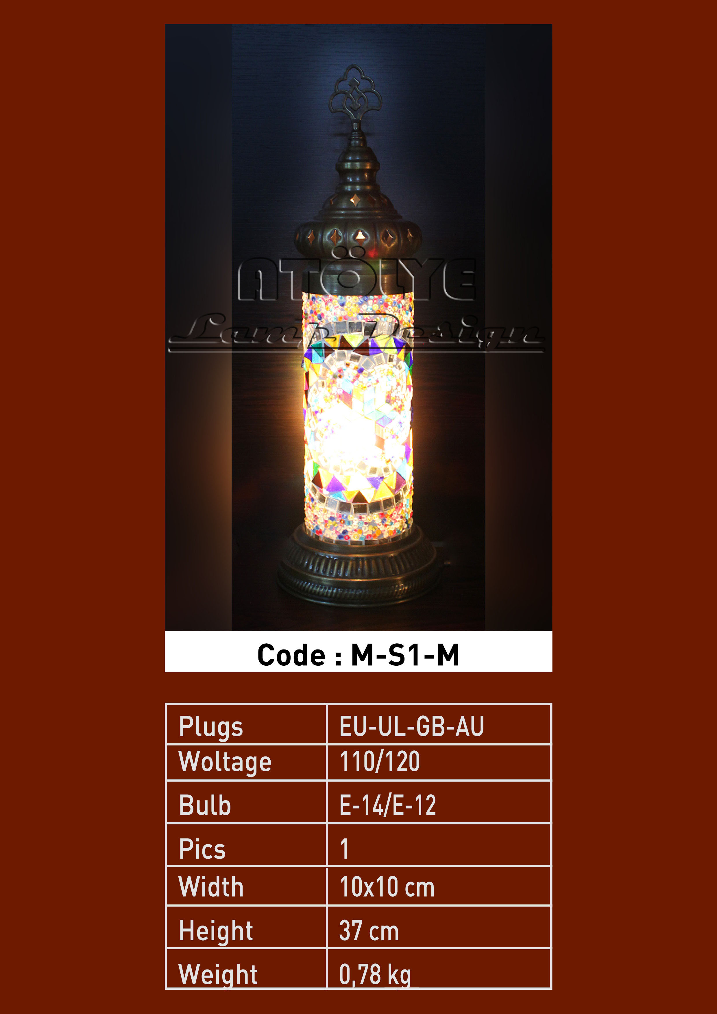turkish mosaic cylinder table lights no1