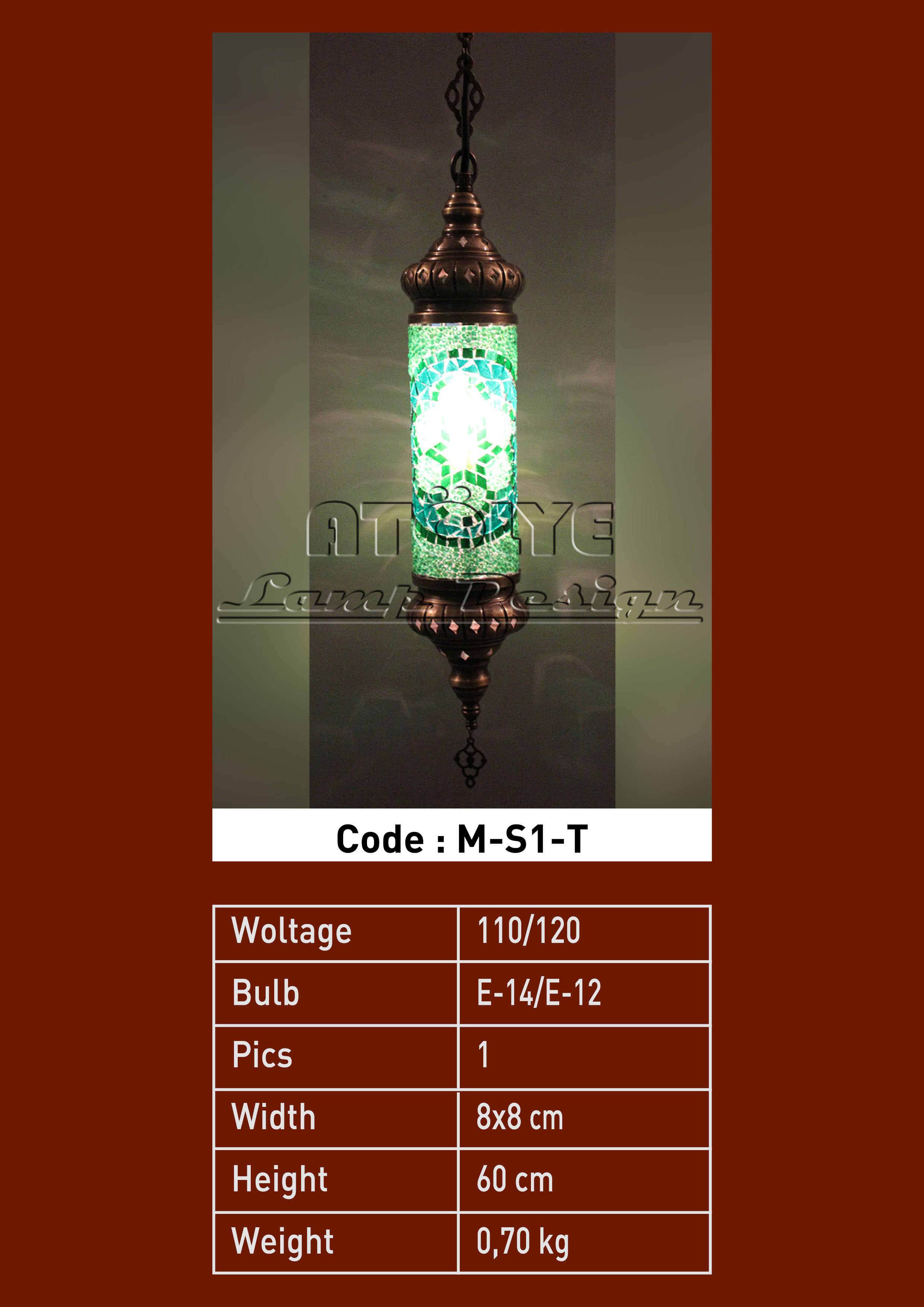 turkish mosaic lights pendant cylinder no1