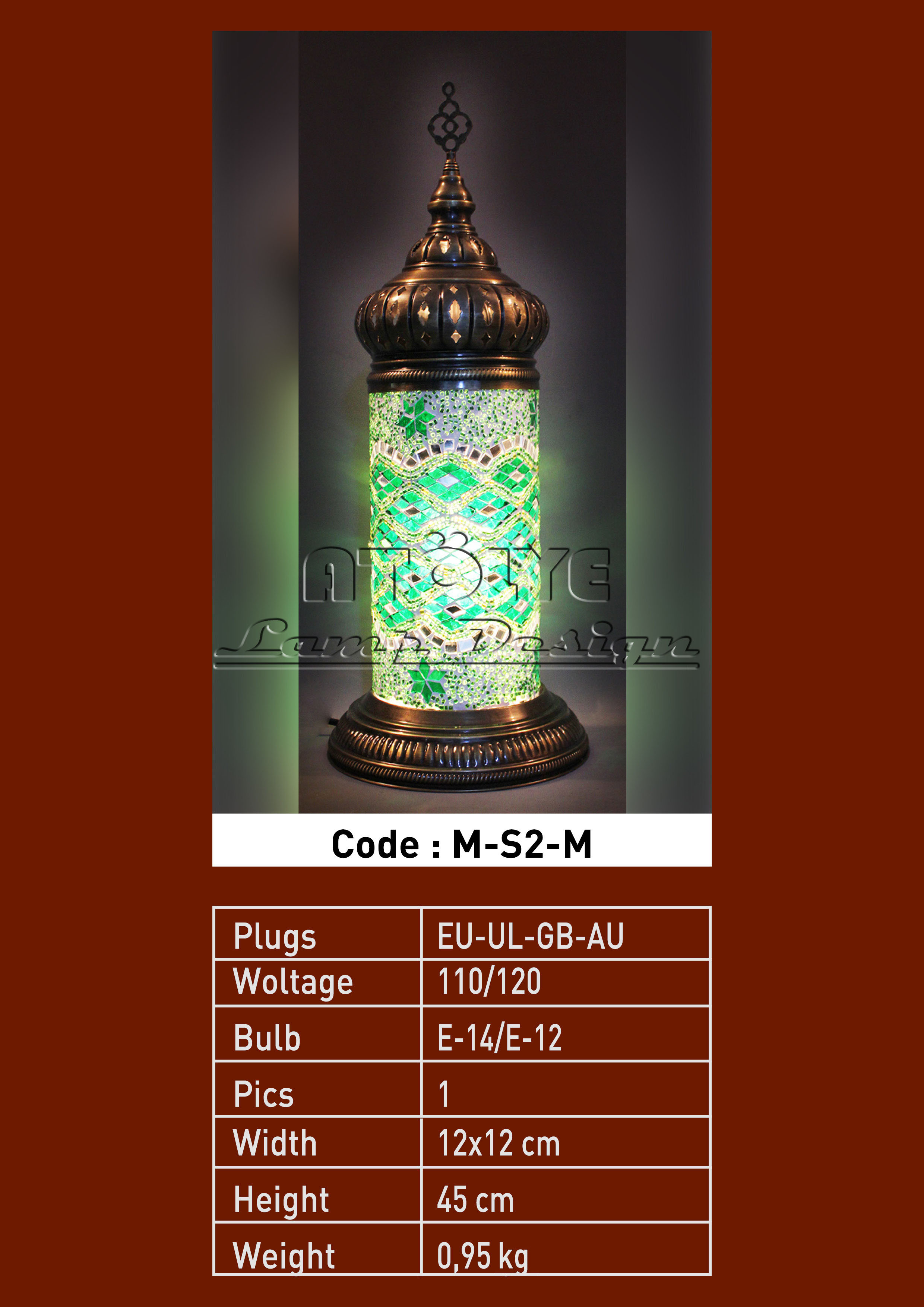 turkish mosaic cylinder table lights no2