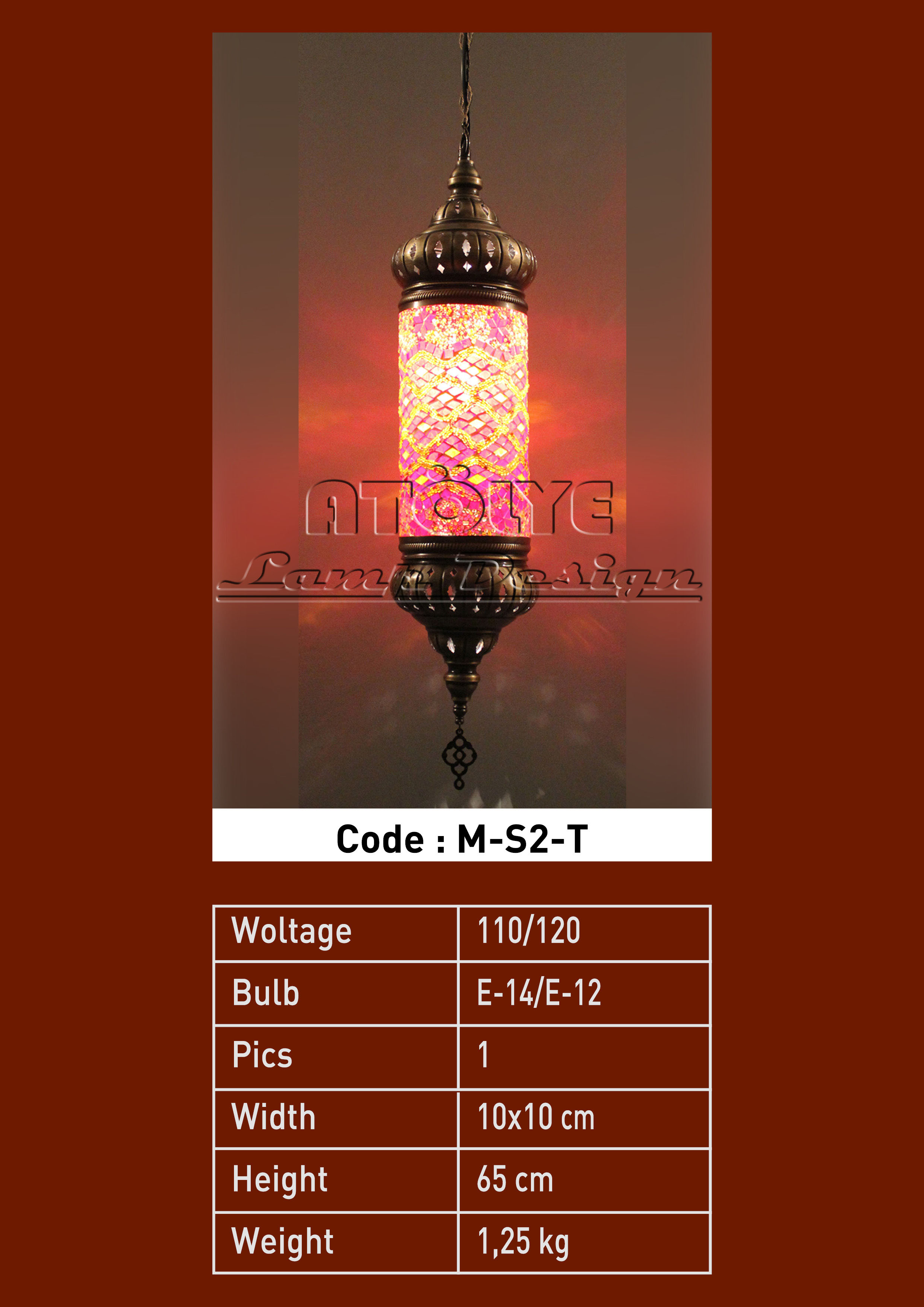 turkish mosaic lights pendant cylinder no2