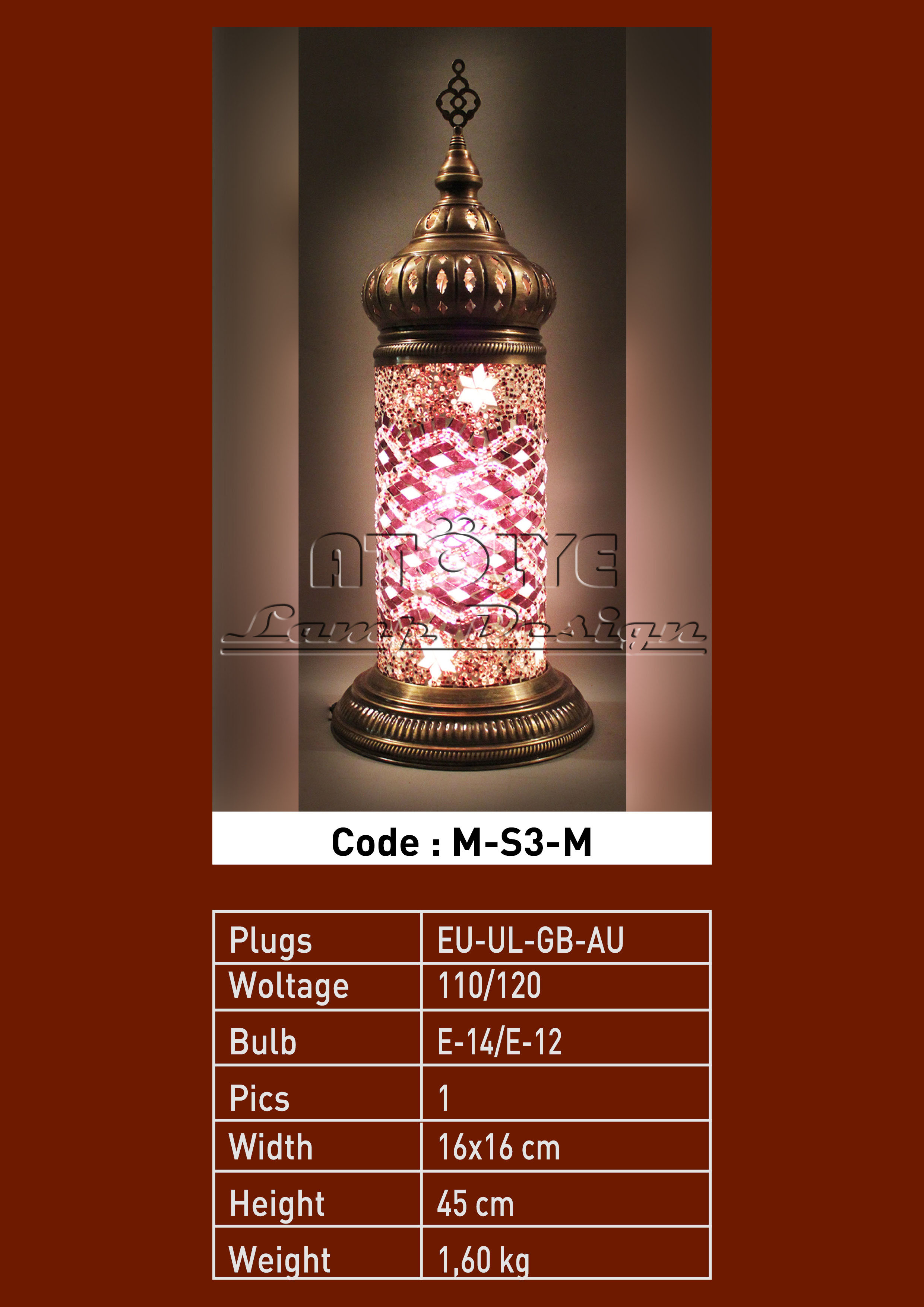turkish mosaic cylinder table lights no3