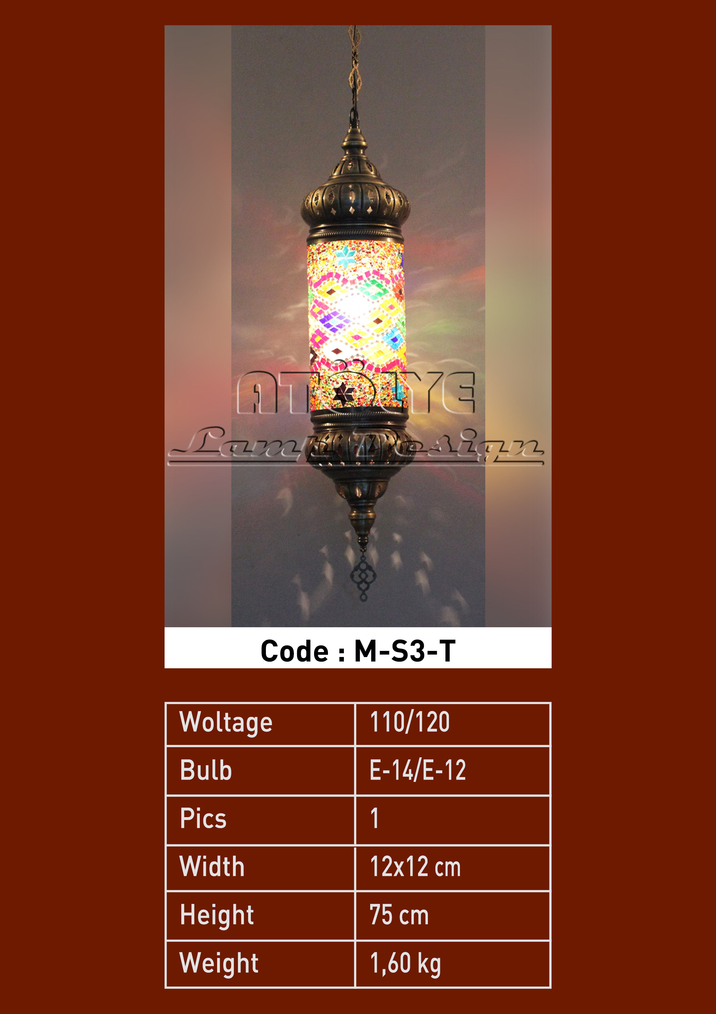 turkish mosaic lights pendant cylinder no3