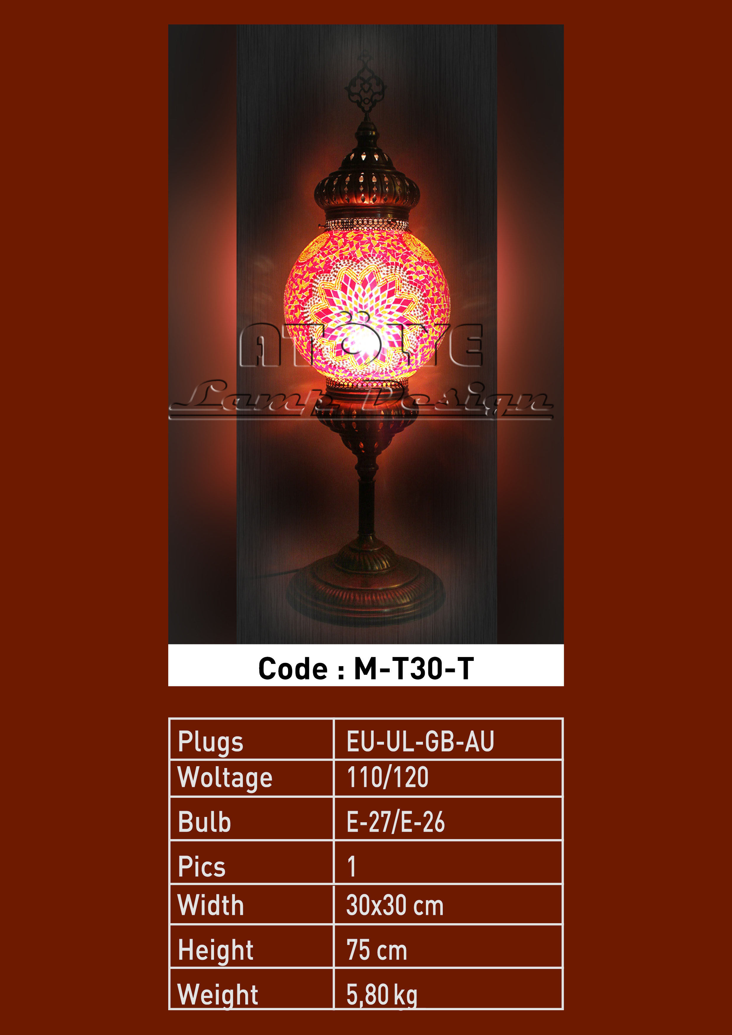 turkish mosaic floor lamp 30cm ball