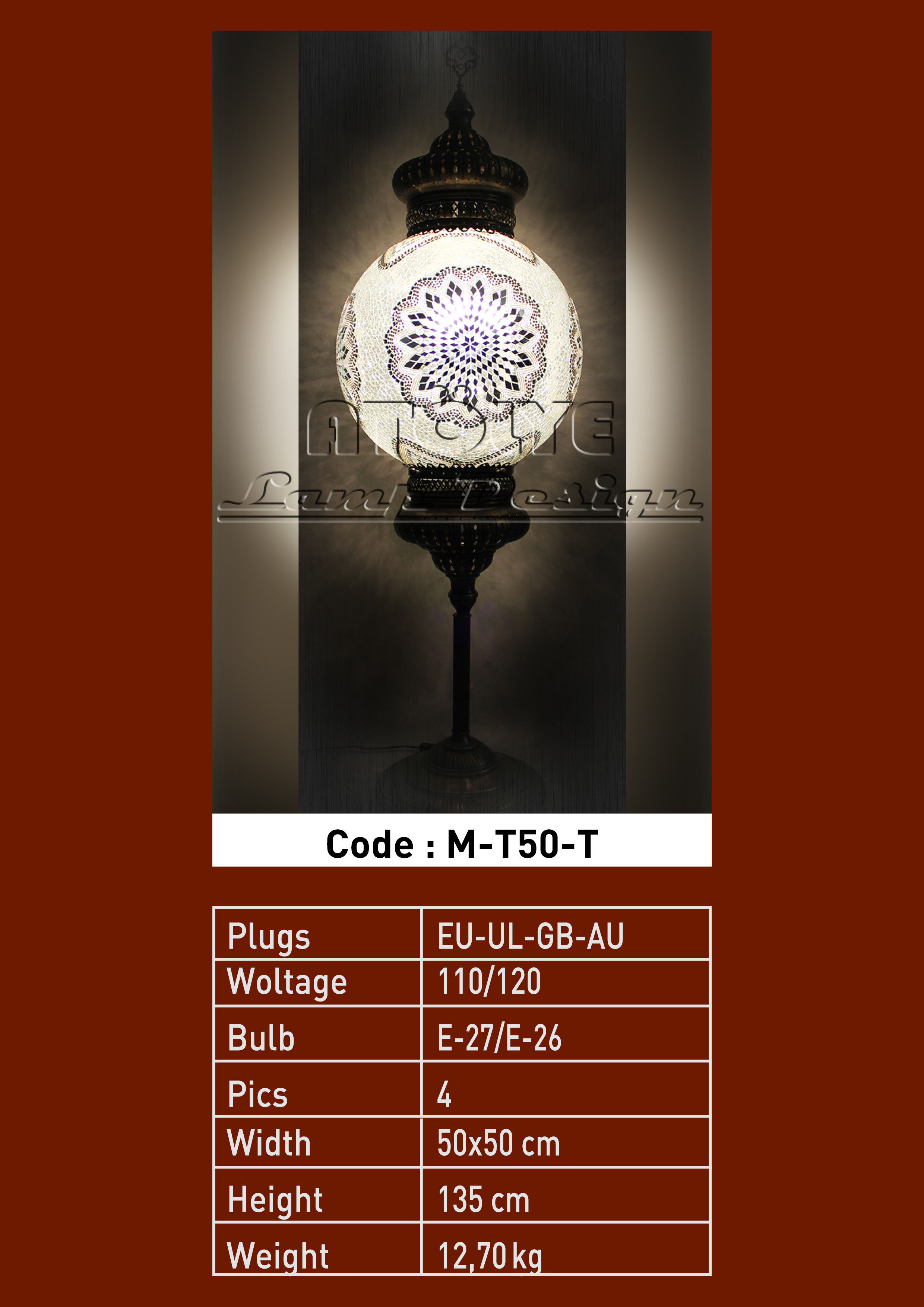 turkish mosaic floor lamp 50cm ball